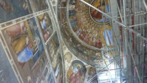 Interior of the Baptistry under renovation - brilliant colours